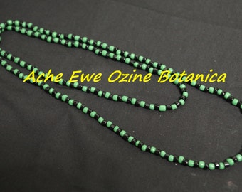 Orisha Ogun Necklace, Oggun Collar, Collar Ogun, Green and Black Beads, Necklace, Santeria