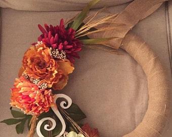 Fall flowers wreath