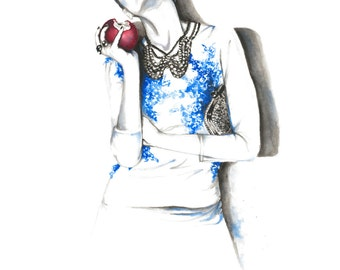 Mirror Mirror - 9x12 print from original watercolor fashion illustration by Daniel Paige