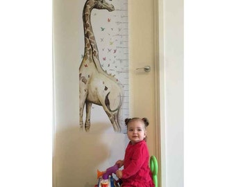 Young Giraffe Growth Chart (Wall Decal) - Choose from Metric (cm) or Imperial (inches) measurements