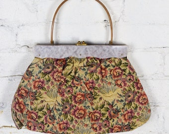 1950s Tapestry Handbag with Lucite Frame and Handle by Florida Handbags of Miami