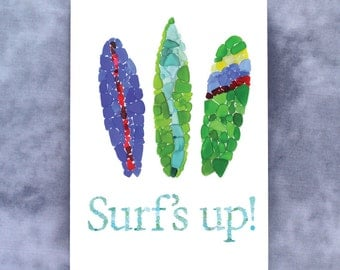 "Sea Glass Surfboards ""Surf's Up!"" Note Card - Blank"