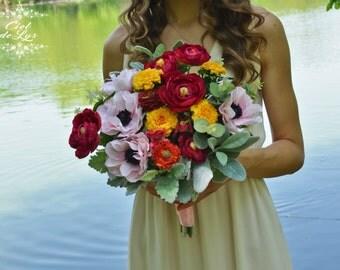 Wedding Bouquet, Silk Bridal Bouquet, Pink Wedding Bouquet, Alternative Bouquet, Ranunkulus Anemones  Marigolds Bouquet, Silk Flowers