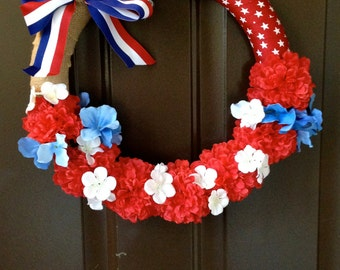 4th of July Wreath | Patriotic Wreath | Custom Wreath | Handmade Wreath | Red White and Blue Wreath