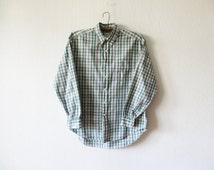 Green Cotton Plaid Shirt Checked Mens Shirt Summer Grunge Shirt Long Sleeve Work Shirt Western Men Button up Redneck Shirt Size Large