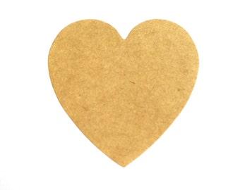 Blank Kraft Heart Stickers - set of 36 (3.6cm diameter)