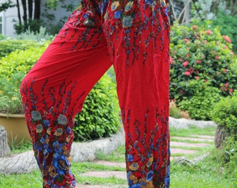 Women Harem Pants Ropa Hippie Pants Boho Yoga Flower Red