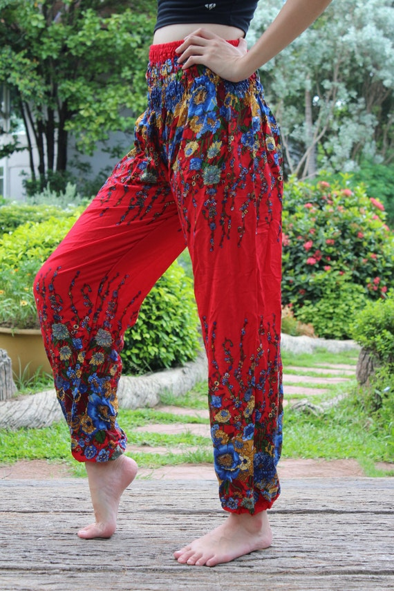 Women harem pants ropa hippie pants boho yoga flower red - Ropa hippie moderna ...