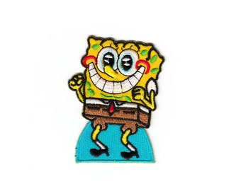 Cute SpongeBob Frozen Kids Disney Cartoon Vintage Embroidered Iron On Patches Patch Sew Appliques Biker Adhesive For Jackets