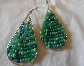 Turquoise Colored Seed Bead Drop Earrings