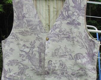 Handmade toile de jouy fully lined waistcoat