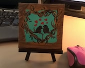 Love Birds on a Heart Tree - Small Art Painting with Desktop Easel, 4 x 4 inch