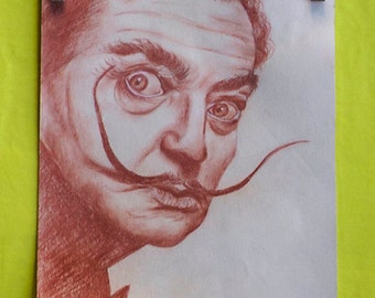 Artistic portrait with sanguine on paper-custom photo-commissioned