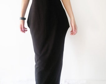 Oversized Loose Fit Off the Shoulder Maxi Dress/Elegant Plus size Women's Long Dress/Minimalistic Stylish Black Dress with High Collar