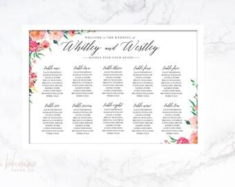 Wedding Seating Chart, Wedding Table Sign, Table Seating Plan, Printable Seating Chart, Reception Sign - Mirtha Collection