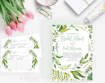 Printable Bridal Shower Invitation /  Shower Invite, Wedding Shower  - Leah