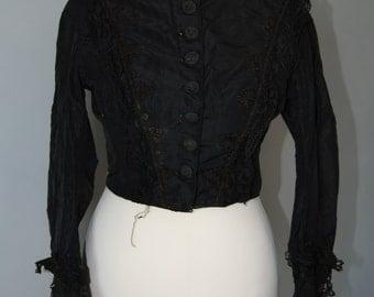 True Vintage Black Victorian / Edwardian Jacket Size Small