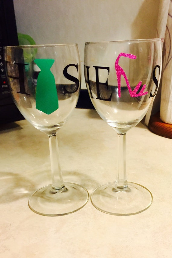His And Her Wedding Gifts Ideas : His and Her Wine Glasses, wedding, gift