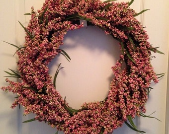 """18"""" Grapevine Pink Berry Wreath"""