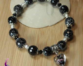 Black agate with murano glass heart Bead Bracelet