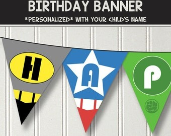 Superhero birthday banner - personalized with your child's name - digital / printable