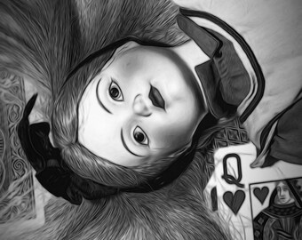 Fine Art Photography, Abstract Photography, Black and White Photography, Alice in Wonderland, Dolls, Wall Decor