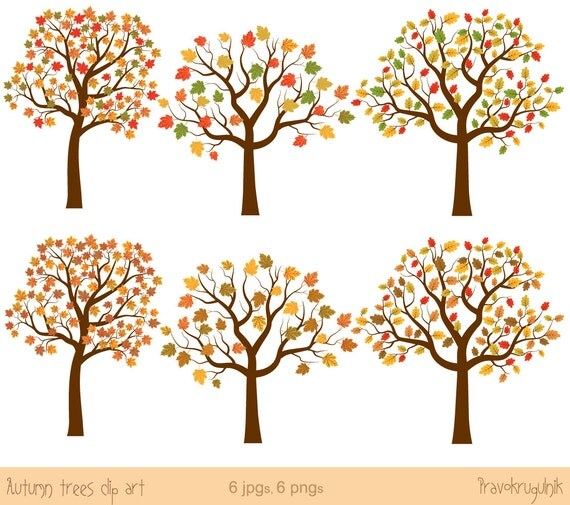 Autumn tree clip art Fall tree clipart Oak tree clip art