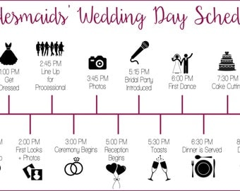 Wedding Party Schedule Timeline with Icons - Customized and Printable - Digital Download