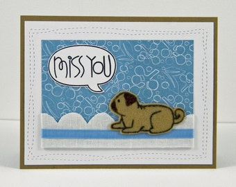 Pug Miss You Card, Dog Miss You Card, Handmade Pug Card