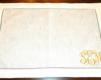 Monogrammed Linen Placemats, Set of 4+