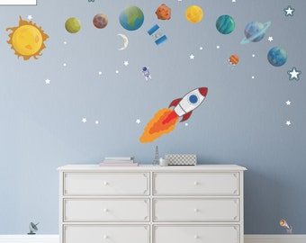 planets wall decals astronomy space wall stickers. Black Bedroom Furniture Sets. Home Design Ideas