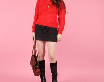 Bright Red 80s Vintage Crochet Knit Jumper Pullover
