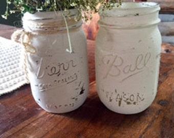 12oz Painted Mason Jar Vase/Décor
