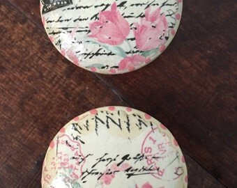 Shabby chic French country Paris postcard writing black pink floral dresser drawer cabinet knobs pulls
