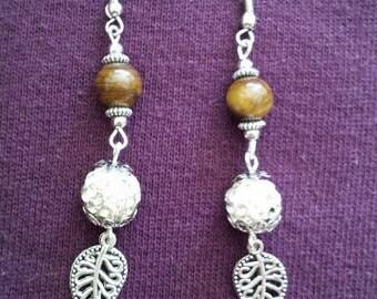 natural stone (tiger eye) and shambala balls earrings