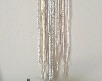 Yarn wall hanging. Neutral colors and mixed textures. Deconstructed wall hanging. Woven wall hanging. Macrame wall hanging