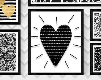 "SCANDINAVIAN HEART Art 2,HEART Print,Nordic Heart Art Print,Scandinavian Wall Art,Digital Heart Print,Heart Print,8""x10"" Digital Download"