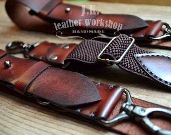 Personalized leather suspenders leather suspenders with Monogram wedding suspenders mens braces for grooms suspenders Groomsmen gift retro