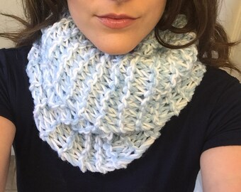 Light Blue and White Cowl