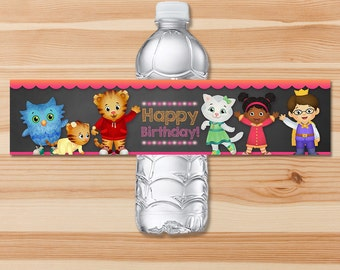 Daniel Tiger Birthday Drink Labels - Pink Chalkboard - Girl Daniel Tiger Water Bottle Labels - Daniel Tiger Birthday Party - Daniel Tiger