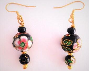 Black Cloisonne' Bead Dangle Earrings