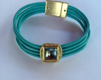 Blue leather, 18k gold plated, swarovsky crystal bracelet