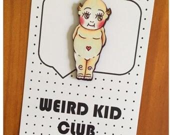 Kewpie tattoo art lapel pin