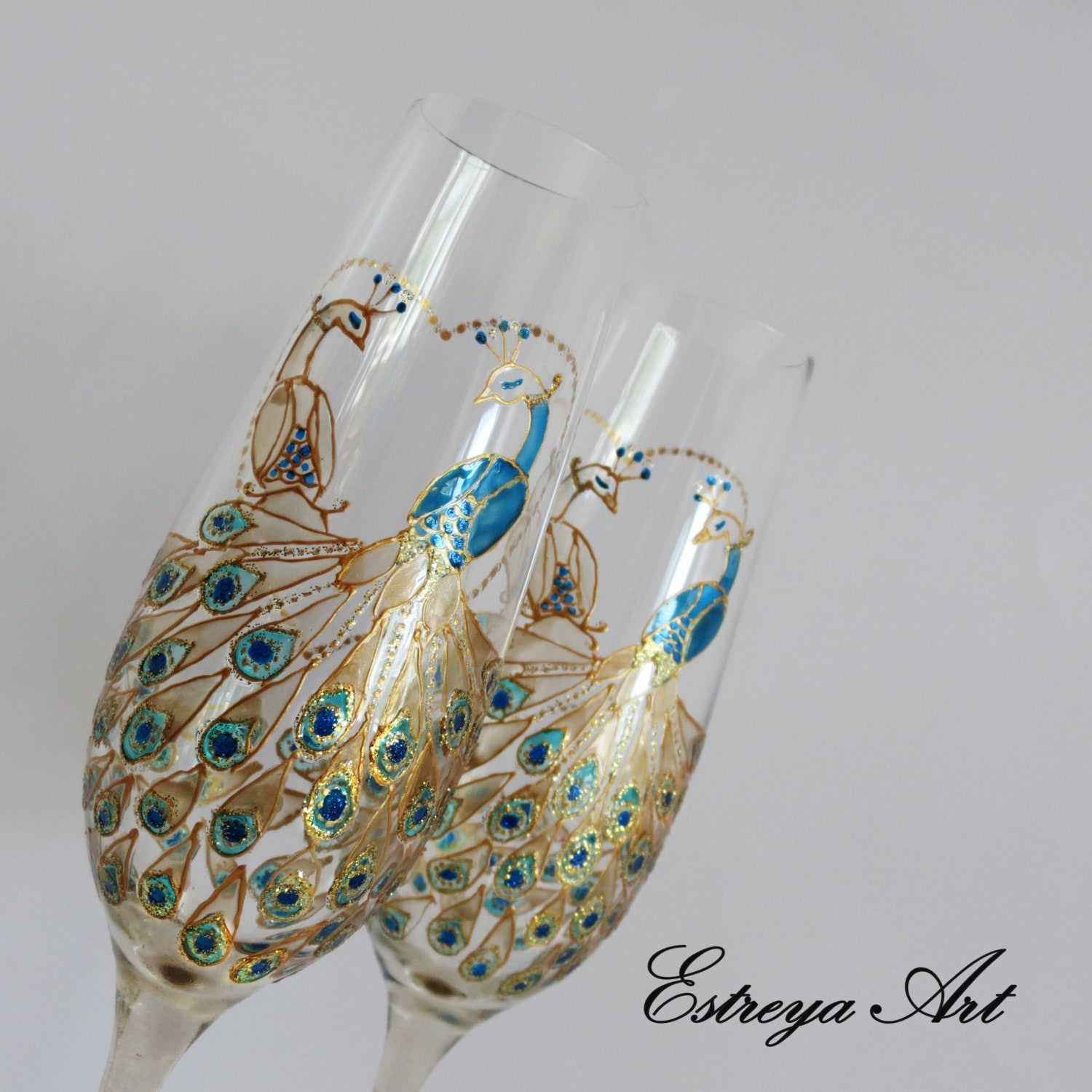 Peacock Wedding Gifts: Peacock Wedding Wedding Glasses Gift Couple Champagne