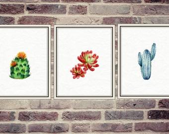 Three Watercolor Cactus Posters 8x10, Watercolor Suculents Posters, Modern Watercolor Art, Modern Digital Art, Digital Wall Art
