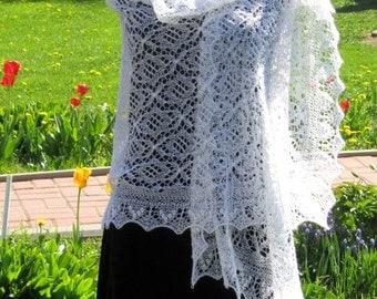 Traditional white hand knitted Haapsalu Lace Shawl Stole, wedding shawl, estonian lace