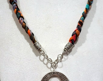 Handmade, Boho Hippy Braided Silk Ribbon necklace with silver pendant