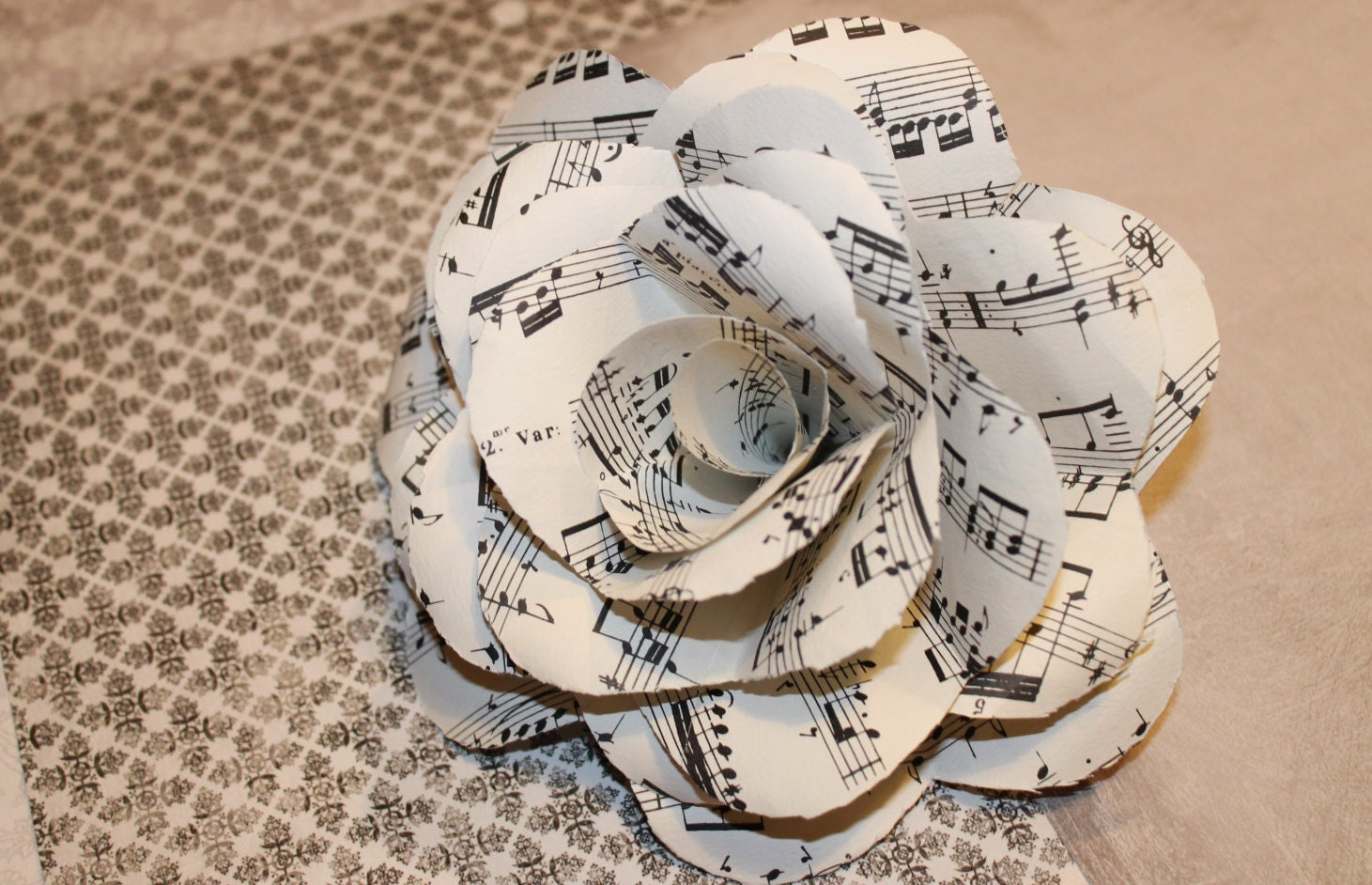 Book paper sheet music rose flower for Paper roses sheet music free