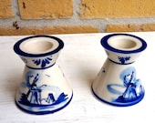 Hand Painted Delft Blue Dutch Windmill Candle Sticks