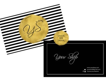 Printable business card, custom business card, black and white stripes with gold foil, business card design